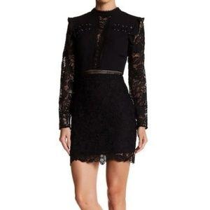 Endless Rose Black Mini Mock Neck Lace Dress, M